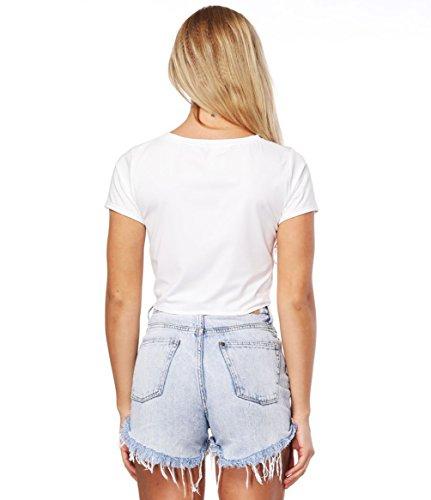 ... ISSHE Oversized Crop Top Damen Bauchfreie T Shirts Tops Kurze Tops  Oberteil Bauchfrei Crop Kurzes Rundhals ... 2b6bbf06fa
