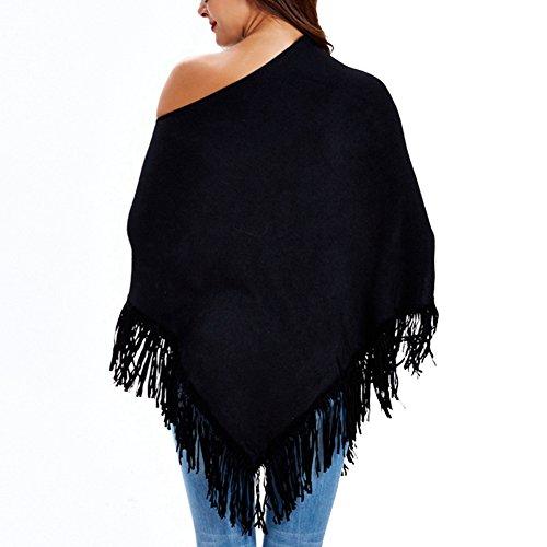 YOUJIA Mujer Fuera del hombro Ponchos Capas Asimétrico Jerséy Suéter Top Con borlas Negro
