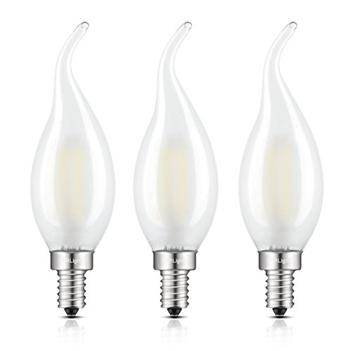 Frosted chandelier light bulbs amazon crlight led candelabra bulb 2w 4000k daylight neutral white 25w equivalent 250lm e12 base led candle bulbs c35 frosted glass flame shape bent tip aloadofball Image collections