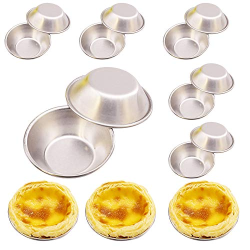 Luxtrip Egg Tart Molds 12 Pieces Aluminum alloy mini cake Heat resistant nonstick Cookie mould Cookie cake pudding chocolate mold tin baking tool baking cup Mini pie muffins