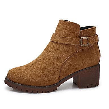 RTRY Zapatos De Mujer Cuero De Nubuck Otoño Invierno Botas Botas De Moda Casual Negro Marrón US6.5-7 / EU37 / UK4.5-5 / CN37