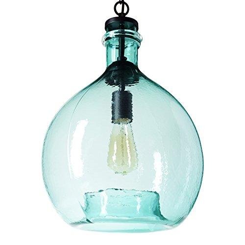 CASAMOTION Wavy Hammered Hand Blown Glass Pendant Light, 1 hanging Light, 13'' diameter, Sea - Diameter Hanging Pendant