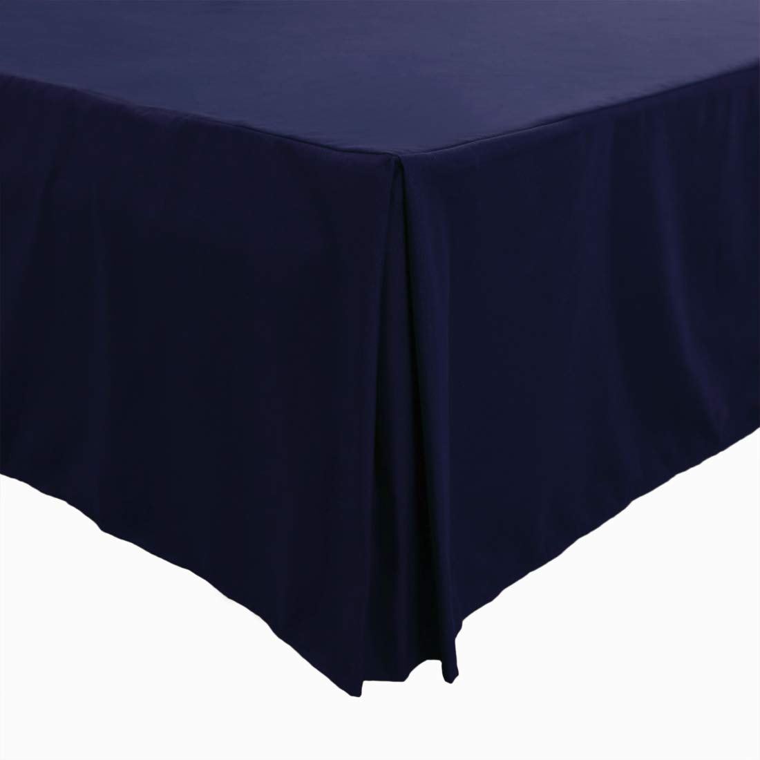 PiccoCasa Pleated Bed Skirt Classic Tailored Styling Dust Ruffled Hotel Quality, 14 Inch - Queen Navy Blue by PICCOCASA