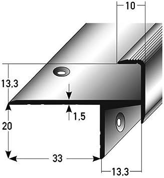 10 metros (10 x 1 m) - Perfil de escalera / Perfil angular / Mamperlán (parquet / laminado), elevación: 13,3 mm, 33 mm de ancho, aluminio anodizado, perforado: Amazon.es: Hogar