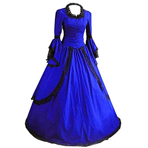 I-Youth Women's Gothic Victorian Dress Long Sleeves Floor-Length Cosplay Halloween Masquerade Costume (Customization: Tell us Your Measurements, Royal Blue) ()