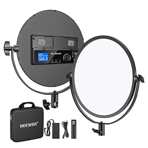 Neewer 10.6-Inch Round LED Video Light Panel with 2.4G Wireless Remote, Ultra Thin 30W 3200K-5600K Bi-Color Dimmable LED…