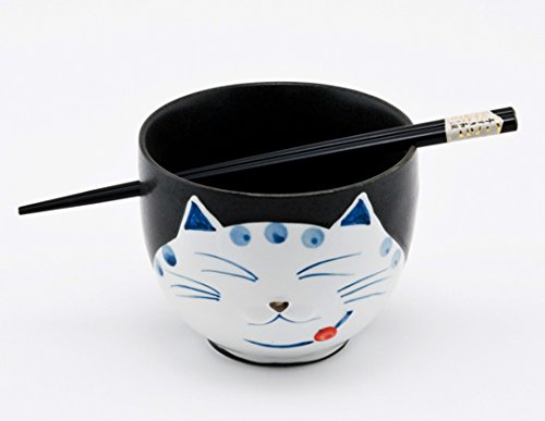 Happy Sales HSRB-CATBLK, Japanese Ramen Udon Noodle Bowl with Chopsticks Gift Set, Smiley Cat Black by Happy Sales