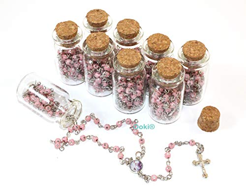 12 pcs Blessed Baby Rosary in Glass Jar Bottle Beads Pink Beaded Rosary Recuerdos De Bautizo Silver Catholic Crucifix Necklace Party Favor Baptism