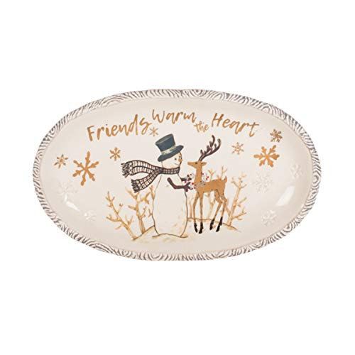 Fitz and Floyd 49-784 Wintry Woods Holiday Serving Tray, 13.75-Inch, ()