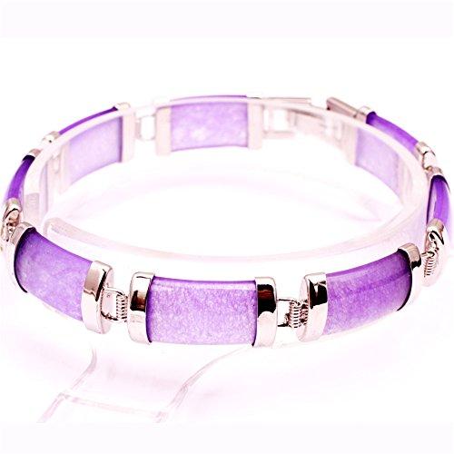 SHG Store Purple Jade Rectangle Stone Beads Gold Plated Link Bracelet 7