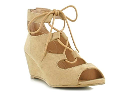 Daytime Women's Footwear Toe Cut for Suede Triple up Sandals Peep Wedges Super Summer Suede Comfy Shoes Lace Look Beige Out Casual a Evening Holiday xUwqY7x1T
