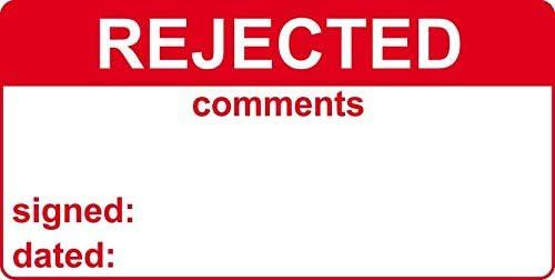 Rifiutato /& commenti-le etichette 50 x 25 mm rotolo di 250 R3017.250