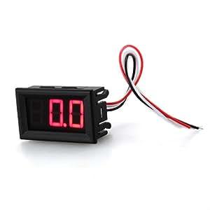 Mini Voltímetro Medidor de Voltaje Presión Digital DC 0-200V Rojo