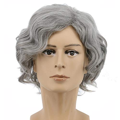 Yuehong Anime Halloween Curly Sliver Gray Unisex Cosplay Wig Hair Wigs Synthetic Wig]()