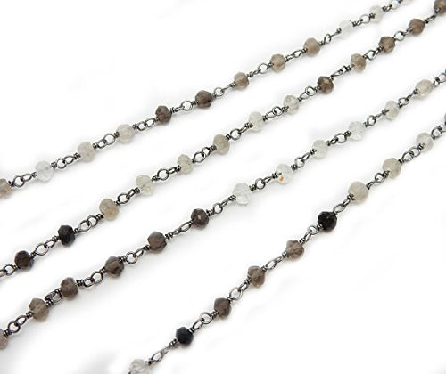 Smokey Quartz Shaded Wire-Wrapped Chain-- Rosary style Oxidized Sterling Silver Chain-- PER FOOT Christmas Sale By LOVE-KUSH.