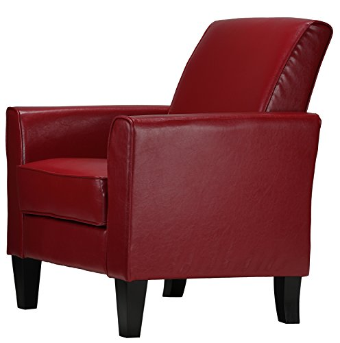 Cortesi Home Tali Red Arm Accent Chair Art Deco Living Room Chair