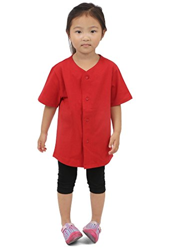 Mens Baseball Button Down Jersey Hipster Hip Hop T Shirts 1UPA01 (Small, Kid_Red) (Team Baseball Jersey Kids)