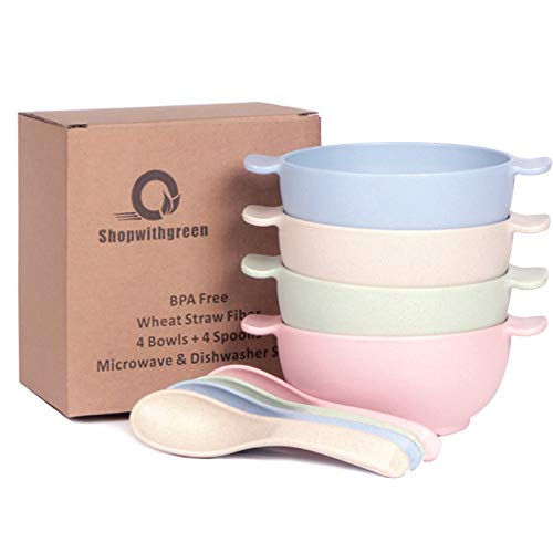 Shopwithgreen Unbreakable Kids Bowls -Microwave Dishwasher Safe-Natural Wheat Straw Snack Bowl Sets for Kids/Toddler/Children/Baby Feeding - 4 Bowls and 4 Spoons, Non-toxic, Eco-friendly