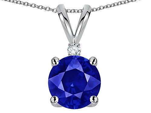 Star K Classic Round 7mm One Stone Created Sapphire Pendant Necklace 14 kt White Gold