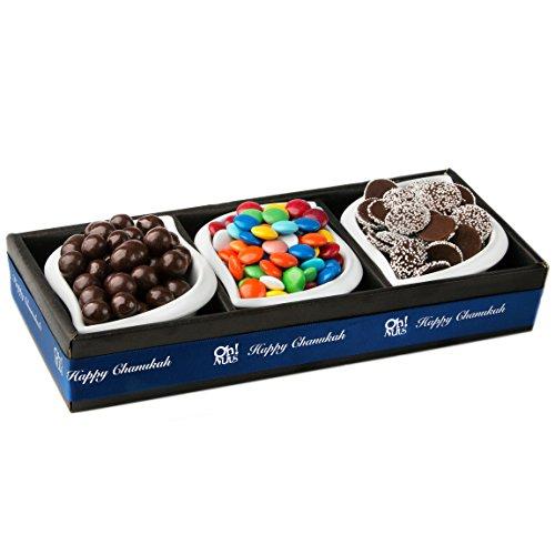 Hanukkah Gift Baskets 3 Selection Chocolate Basket in a Ceramic Trio Serving Set