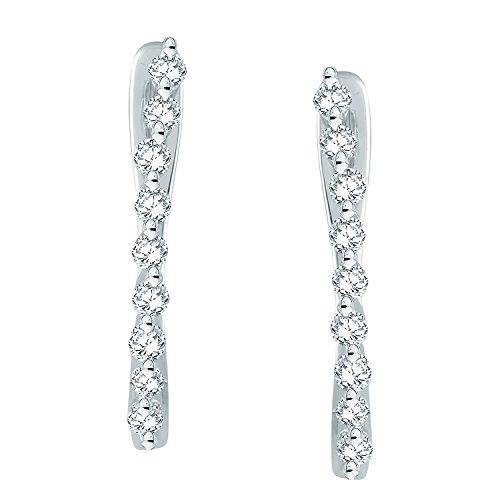 Giantti Diamant pour femme Boucles d'oreilles créoles (0.2466CT, qualité HSI, Gh-colour)