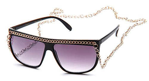 Newbee Fashion- Women Flat Top Oversized Retro Chain Sunglasses with Metal Chain on Top & Around Neck ( Dark & Neon Color to Choose - Color To Sunglasses