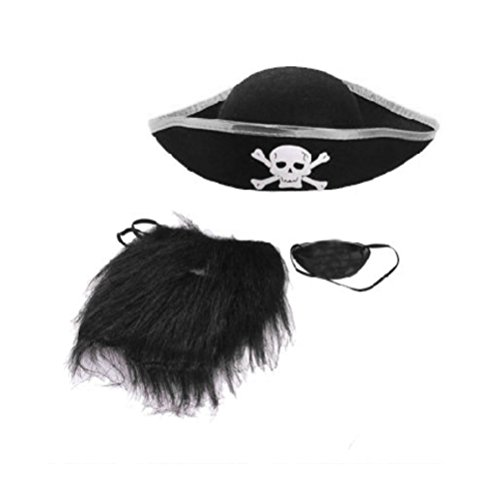 BESTOYARD Halloween Party Prom Supplies Pirate Hat Pirate Eye Mask Pirate Beard Costume Set (Black) ()