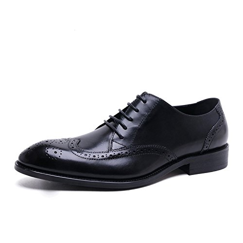 Santimon Mens Semi Brogue Spetsig Tå Wingtip Oxfords Finskor Svart