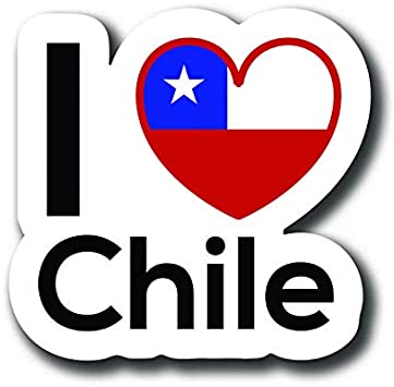 MKS0132 Love Chile Flag Decal Sticker Home Pride Travel Car Truck Van Bumper Window Laptop Cup Wall One 5 Inch Decal