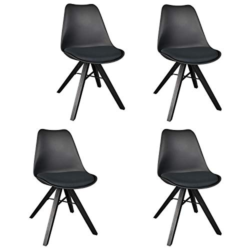 Unit Eames Desk (Polorim Modern Wooden Dining Chairs Set of 4 Upholstered Side Chairs for Kitchen Living Room Office Black)