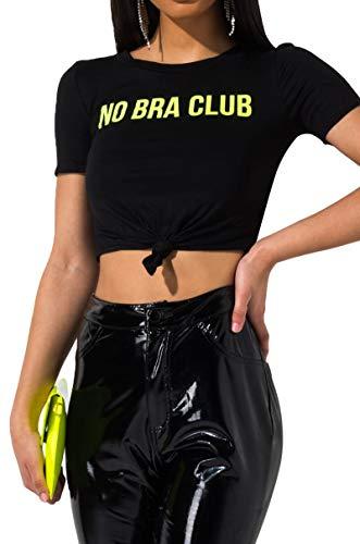 AKIRA Women's No Bra Club Short Sleeve Knot Front Baby Tee Tshirt-Black_M ()