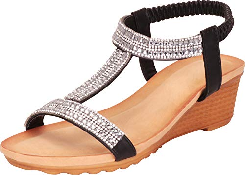 Cambridge Select Women's T-Strap Crystal Rhinestone Stretch Slingback Low Wedge Sandal,8.5 M US,Black