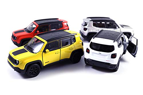 HCK Set of 4 2017 Jeep Renegade Trailhawk - Pull Back Toy Cars 1:32 Scale (White, Red, Orange, Silver)