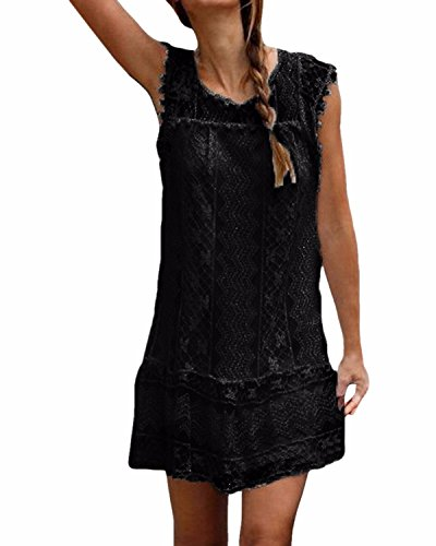 StyleDome Women's Lace Sleeveless Hollow Out Beach Cocktail Slim Mini Maxi Dress
