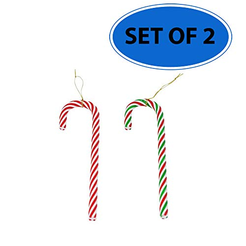 (10-Inch Hanging Candy Cane Holiday Christmas Tree Ornament   Set of 2 (1 Red and White; and 1 Red and Green and White))
