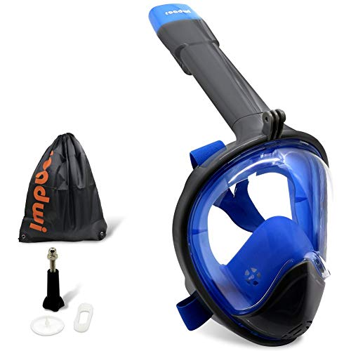 roadwi Full Face Snorkel Mask Curved Snorkeling Mask Diving Scuba Mask,Anti Fog Anti Leak Dry Snorkel Technology with Sport Drawstring Bag for Adults and Kids