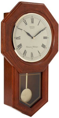 Seiko Wall Pendulum Schoolhouse Clock Dark Brown Solid Oak (Brown Oak Case)