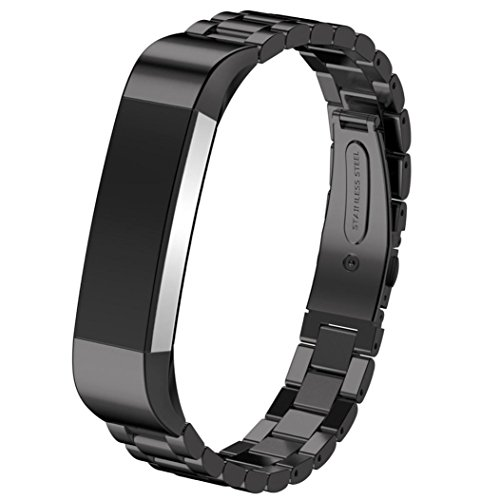 D.B.MOOD Band for Fitbit Alta Smart Watch,Stainless Steel,7 Color,8.26 Inches Black