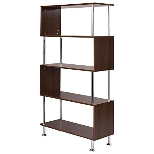Tangkula Barnes Modern Bookcase Wooden Bookshelf Storage Display Unit Furniture (4-Tier) - Modern Bookcase