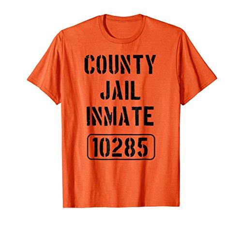 Mens County Jail Shirt   Prison Inmate Novelty Tee Medium Orange