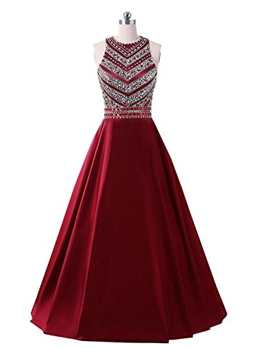 Line Long Satin Beaded Prom Dresses Sequined Evening Gown With Pockets (Sequined Long Gown)