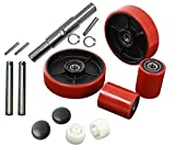 """Pallet Jack/Truck Full Set RED with Axles, Steering Wheels 7""""x 2"""" Pair, Front Load Roller 2.75"""" x 3.75"""" Pair with Bearings ID 20mm Poly Tread Red, Entry Exit Roller and Protective Caps"""