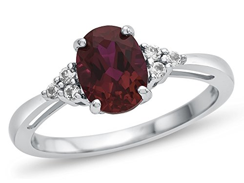 Finejewelers 10k White Gold 8x6mm Oval Created Ruby and White Topaz Ring Size 5