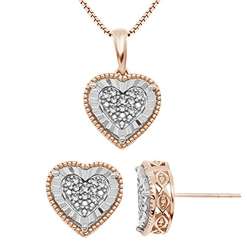 JewelExclusive Sterling Silver .10 cttw White Diamond Two-Tone Post Earring And Pendant - Post Diamond Heart