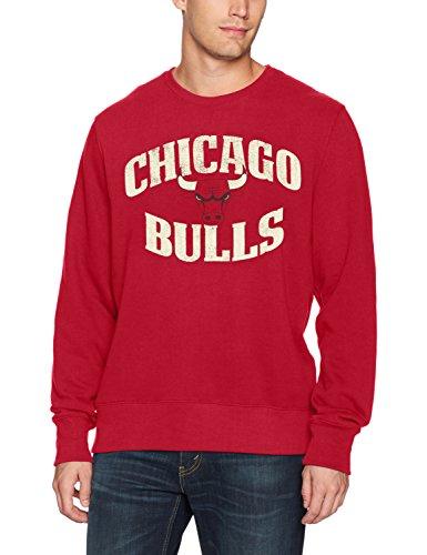 NBA Chicago Bulls Men's OTS Fleece Crew Distressed, Red, Medium Chicago Bulls Mens Sweatshirts