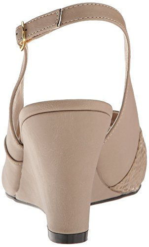 Label Wedge Pleaser Taupe Leather Pink Tppu Women Faux Kim01sp Sandal qxwUB45f