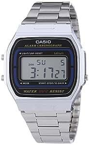 Casio A164WA-1VES - Reloj digital de cuarzo para hombre con correa de acero inoxidable, color plateado