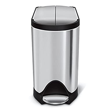simplehuman Butterfly Step Trash Can, Stainless Steel, 10 L / 2.6 Gal