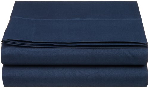 Polyester Flat Sheet - Luxury Cathay Silky Soft Polyester Single Flat Sheet, Twin Size, Navy Blue