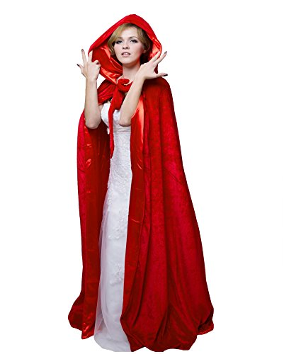 HSDREAM Unisex Hooded Wedding Cape Cloak lined with Satin For Halloween Costume (Red, B) by HSDREAM